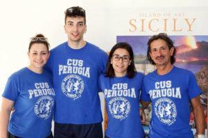 da sinistra: Aline Coulon, Matteo Cianchetti, Gaia Preite Martinez con il tecnico Andrea Arena